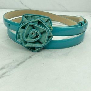 Talbots Blue Skinny Thin Floral Buckle Belt Large